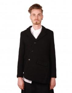 COMME DES GARCONS HOMME PLUS asymmetric black jacket in boiled wool