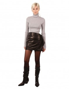 BARBARA BUI short leather draped skirt made in black lambskin