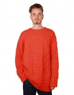 "Pull ""LARRY"" en grosse maille torsadée orange ETUDES"