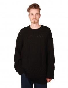 """ETUDES """"LARRY"""" long cable knitted black pullover"""
