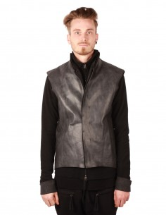 M.A.+ sleeveless waistcoat in grey camel skin