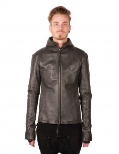 M.A.+ leather jacket made in grey camel skin