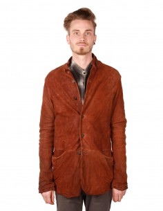 Veste six boutons en cuir d'agneau marron giorgio Brato