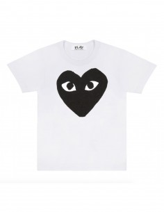 CDG PLAY White tee with big black heart