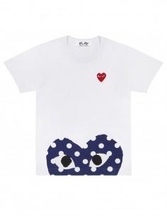 CDG PLAY - T-shirt blanc avec demi coeur à pois et coeur rouge