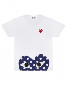 CDG PLAY -  White tee with half a heart with dots and a red heart
