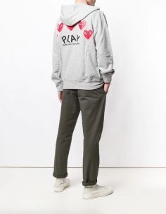 CDG PLAY - Zipped hoodie with hearts on the back