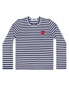 CDG PLAY - Blue sailor long-sleeves tee with a red heart