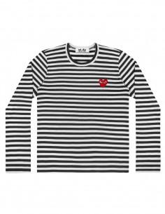CDG PLAY - Marinière noire à manches longues avec coeur rouge