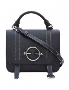 "JW ANDERSON ""disc satchel"" bag made in smooth black leather"