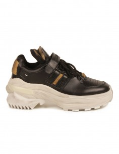 "MAISON MARGIELA ""Retro fit"" black sneakers with a chunky sole"