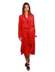 BARBARA BUI Shirt-inspired skirt in red silk