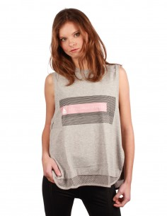adidas Stella Mc Cartney Tank top in cotton and breathable mesh - Light grey