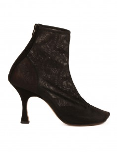 MM6 Toe-shaped mesh  ankle boots in black