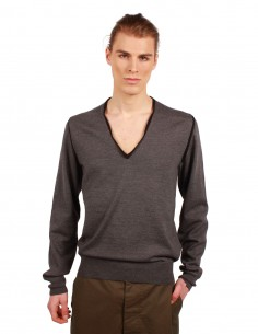 MAISON MARGIELA V-neck pullover in grey wool