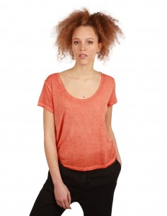 THOM KROM orange tee in fine jersey