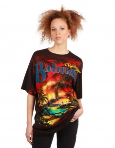 BALMAIN long tee with a multicolored palms print for women