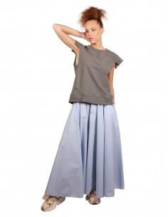 Jupe longue rayée bleu et blanc MM6 Maison Margiela