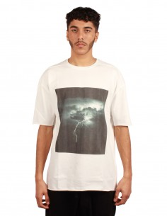"""THOM KROM """"Storm"""" printed white tee in cotton"""