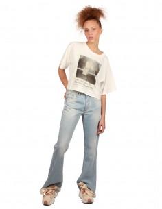 Pantalon en denim Bootcut MM6 Maison Margiela bleu-ciel