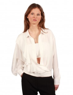 BARBARA BUI flounced blouse made in a white silk