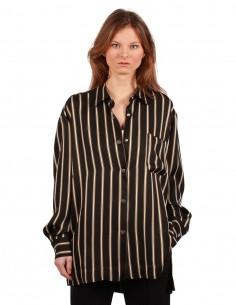 BARBARA BUI oversized striped shirt in dark brown and beige