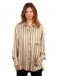 BARBARA BUI oversized striped shirt in beige and brown tones