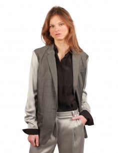 BARBARA BUI Bi-material blazer jacket in grey