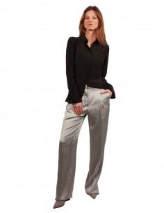 Pantalon large en viscose Gris BARBARA BUI