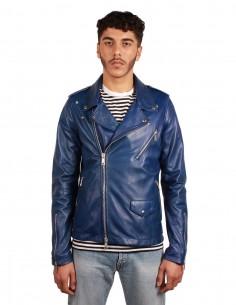 GIORGIO BRATO perfecto jacket in leather, in electric blue