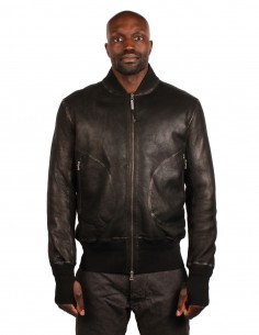 ISAAC SELLAM Reversible bomber jacket in black leather