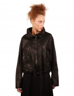 "ISAAC SELLAM ""Balloon"" jacket made in black leather"