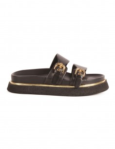 PREMIATA Slip-on flat sandals in black leather