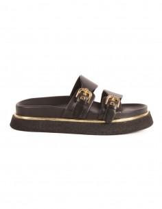 Sandales plates PREMIATA en cuir noir