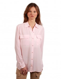 EQUIPMENT All over stars-printed silk shirt in pink