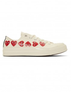 CDG PLAY Converse low-top sneakers with multi-hearts - White