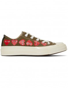 CDG PLAY Converse low-top sneakers with multi-hearts - khaki