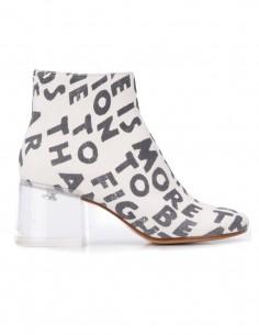 """Boots à talon MM6 en denim blanc avec slogan """"AIDS"""" imprimé"""