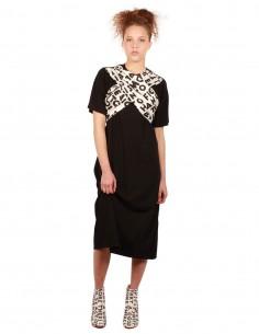 "MM6 Robe tee-shirt noire avec foulard imprimé ""AIDS"""