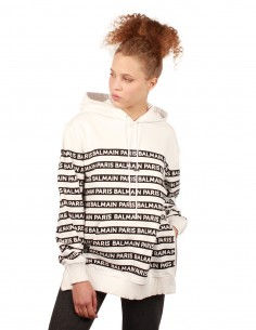 "BALMAIN White striped hoodie with ""Balmain"" logos"