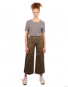 FRAME Cropped and wide-leg khaki pants