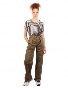FRAME Pantalon droit à taille haute kaki