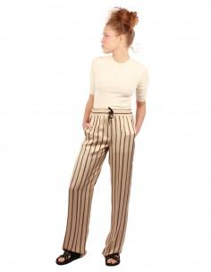 barbara bui Pantalon large beige à rayures noires