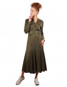 EQUIPMENT Lenora military-inspired long dress in khaki