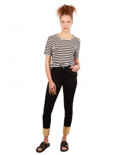J BRAND Alana black jeans with golden lower leg