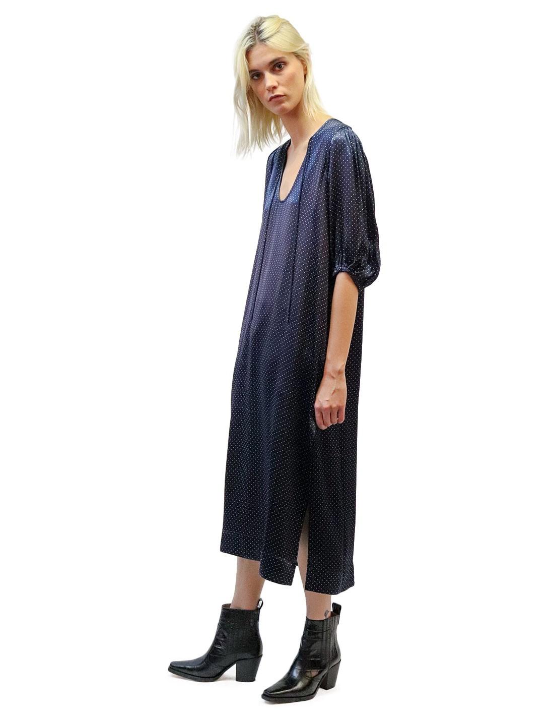 Robe Longue Bleu Marine A Pois