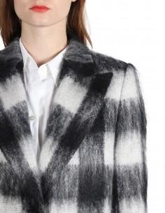 Long manteau margiela pour femme à carreaux en laine et mohair