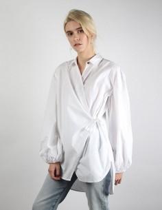 Chemise GANNI Cache-coeur en coton blanc