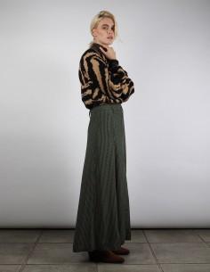 Gros pull GANNI motif Jacquard noir et marron