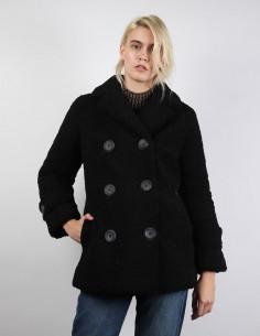 manteau STAND lou noir fausse fourrure